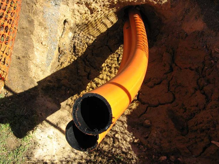 Acu-Tech Piping Systems sells HDPE elec HDPE Orange coex conduit and comm HDPE white coex conduit