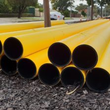 HDPE Gas Pipe for high pressure gas main on Site - Full Jacket Yellow HDPE Pipe