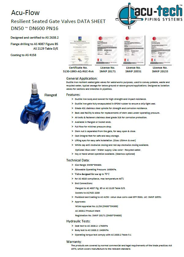 Acu-Flow Valve Brochure - Thumbnail