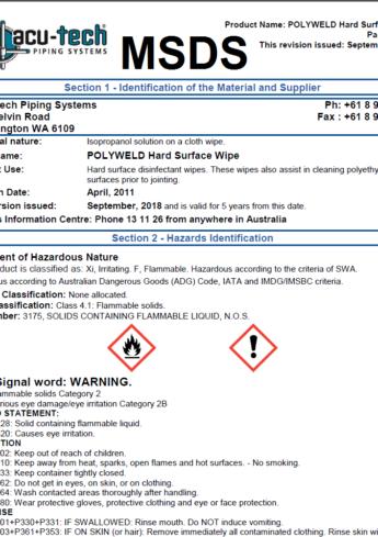 acu-tech-polyweld-wipes-data-sheet