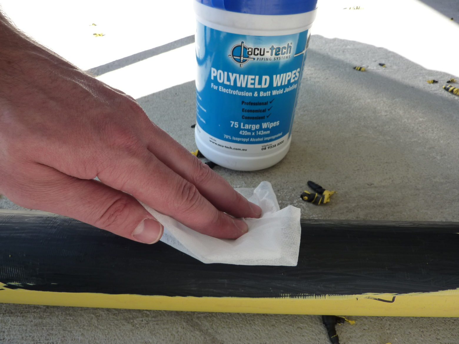 Polyweld Wipes - In Use