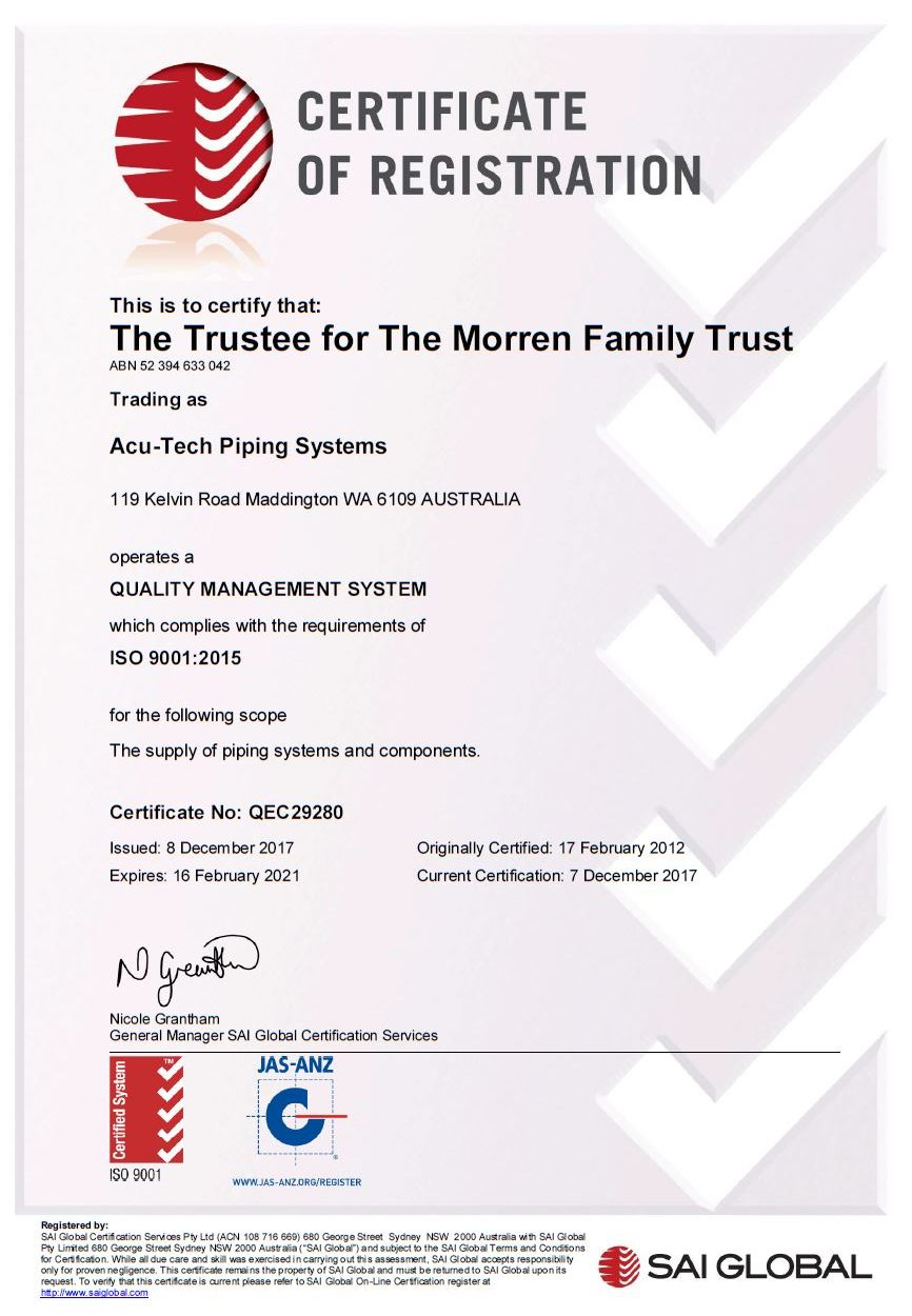 Acu-Tech ISO9001 Quality Management System Certificate