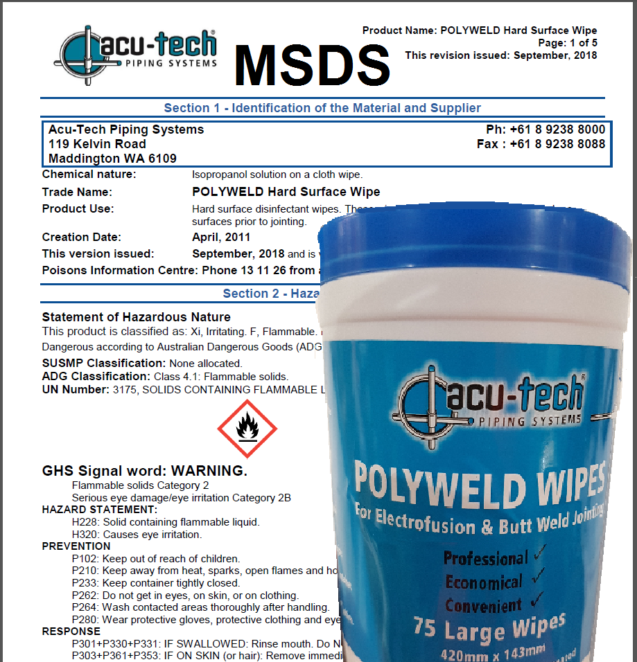 Acu-Tech Polyweld Wipes Data Sheet