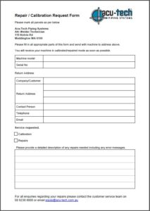Welder Service & Calibration Form
