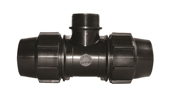 90 degree Tee with Male Offtake Compression Fitting