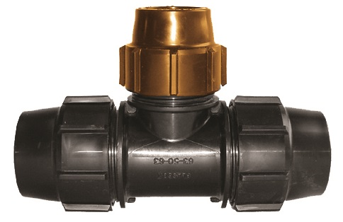 Poly to Copper Tee Compression Fitting